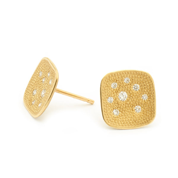 Square Stardust Diamonds Stud Earrings - Anne Sportun Fine Jewellery