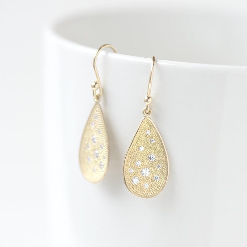 Organic Teardrop Stardust Hook Earrings - Anne Sportun Fine Jewellery