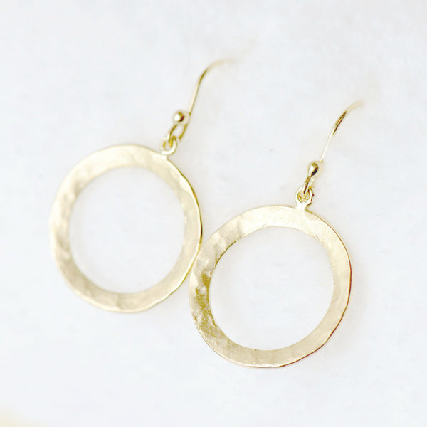 Hammered Open Disc Hook Earrings - Anne Sportun Fine Jewellery