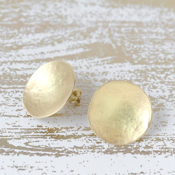 Large Hammered Disc Stud Earrings - Anne Sportun Fine Jewellery