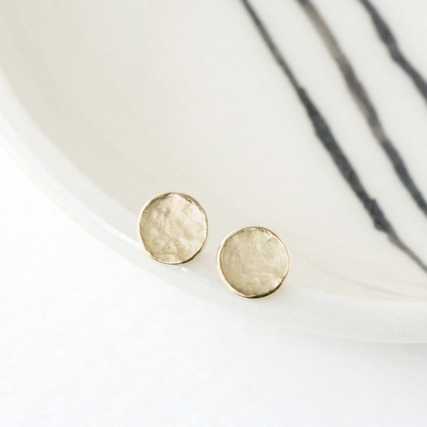 Delicate Hammered Disc Stud Earrings - Anne Sportun Fine Jewellery Toronto, Canada, and U.S.