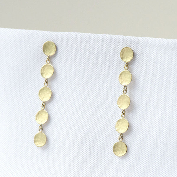 Five Hammered Disc Post Earrings - Anne Sportun Fine Jewellery
