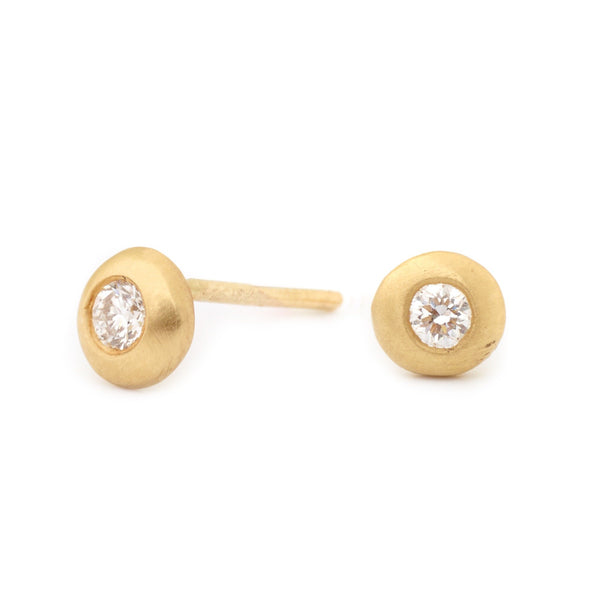 Gold Bezel Diamond Earrings - Anne Sportun Fine Jewellery