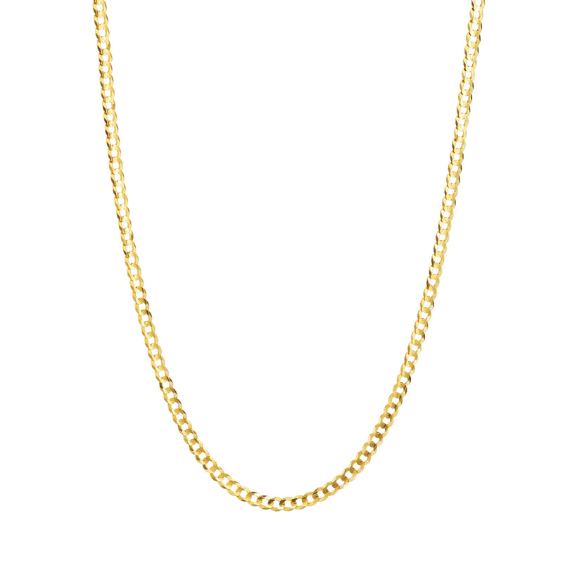 10K YELLOW GOLD 3.5MM HOLLOW CURB CHAIN