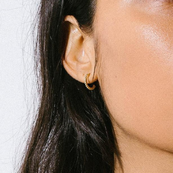 DOTTED HOOP EARRINGS  | MINI | 10K GOLD