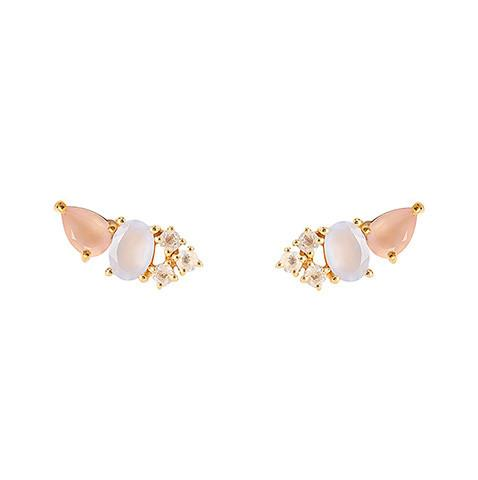 MULTI EAR CLIMBERS | GOLD| ROSE PINK CHALCEDONY