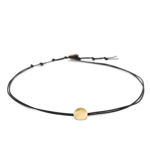 Black Linen Cord Gold Disc Choker Necklace - Anne Sportun Fine Jewellery