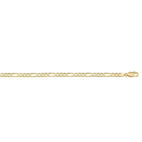 10K YELLOW GOLD HOLLOW 3.7mm FIGARO LINK CHAIN