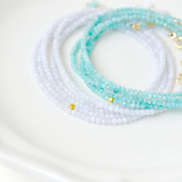 Chalcedony Wrap Bracelet - Necklace