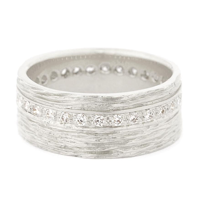 Wide Eternity Diamond Bark Texture Women's Band - Anne Sportun Fine Jewellery