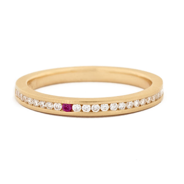 Single Pink Sapphire Diamond Channel Band - Anne Sportun Fine Jewellery