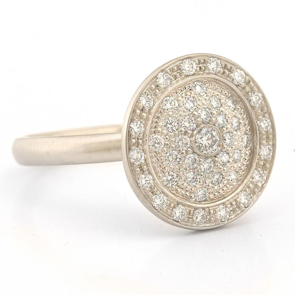 Pave Diamond Medallion Ring - Anne Sportun Fine Jewellery