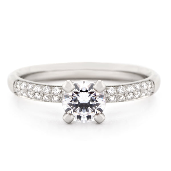 Four Claw Pave Diamond Engagement Ring - Anne Sportun Fine Jewellery