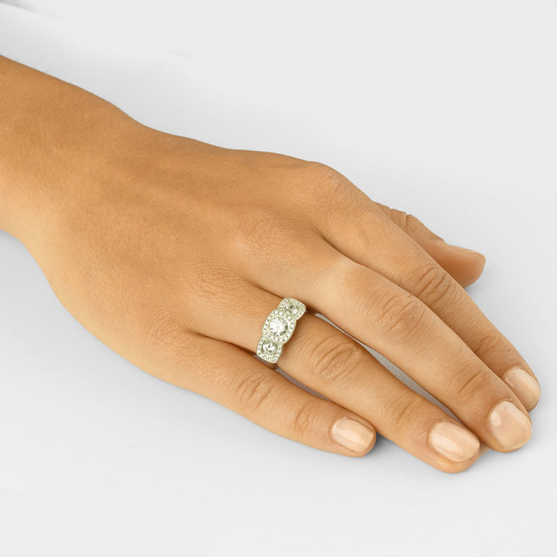 Triple Illusion Cushion Engagement Ring - Anne Sportun Fine Jewellery Toronto, Canada, and U.S.