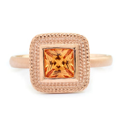 Princess Cut Spessarite Garnet Ring