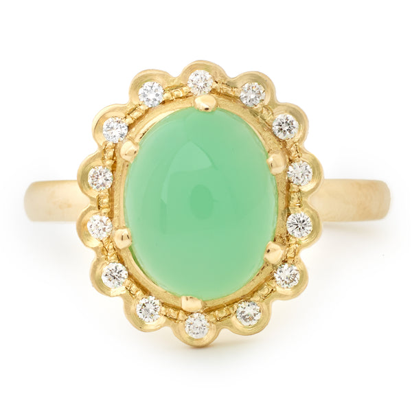 Oval Chrysoprase Ring with Scalloped Diamond Halo