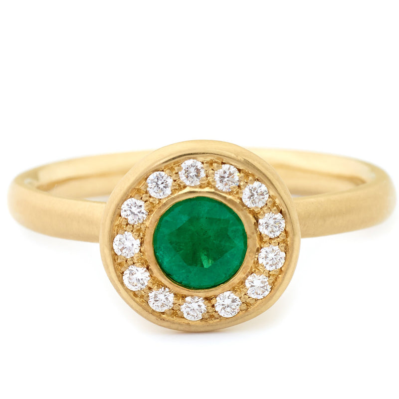 Green Emerald Fresh Diamond Ring - Anne Sportun Fine Jewellery