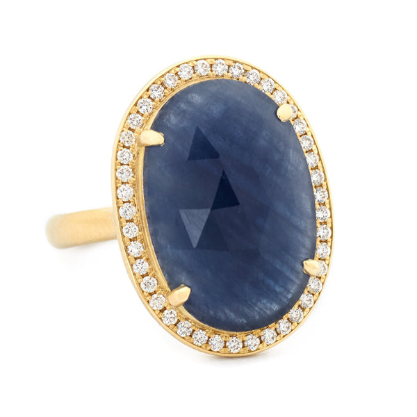Rosecut Oval Blue Sapphire Ring - Anne Sportun Fine Jewellery Toronto, Canada, and U.S.