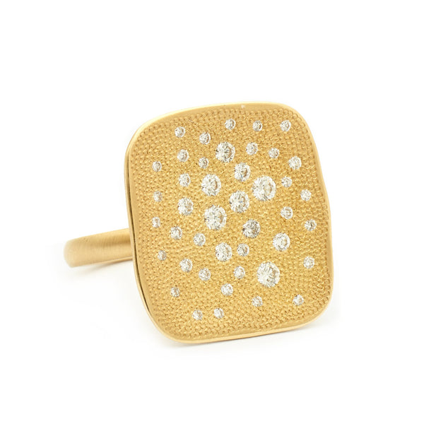 Large Organic Square Stardust Ring - Anne Sportun Fine Jewellery