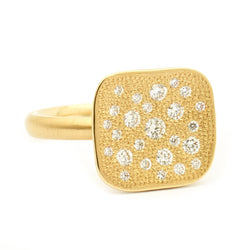 Stardust Organic Square Top Pave Set Ring - Anne Sportun Fine Jewellery