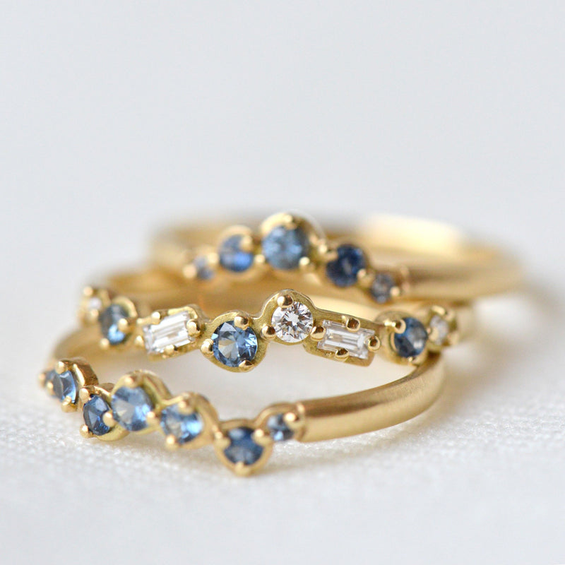 Cascade Baguette and Round Diamond and Blue Sapphire Band - Anne Sportun Fine Jewellery