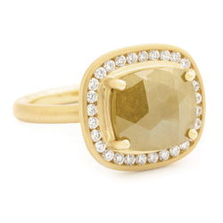 One of a Kind Yellow Cushion Rosecut Diamond Ring - Anne Sportun Fine Jewellery