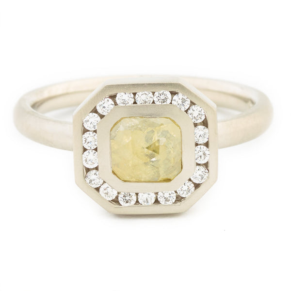 One of a Kind Light Yellow Emerald Rosecut Diamond Ring - Anne Sportun Fine Jewellery