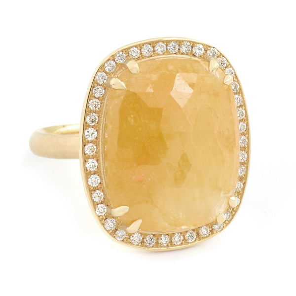 One of a Kind Yellow-Orange Sapphire Ring - Anne Sportun Fine Jewellery