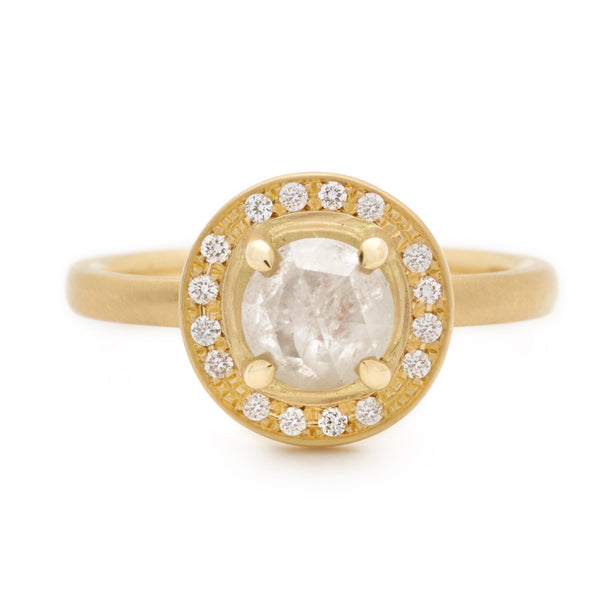 One of a Kind Snowy Rosecut Diamond Ring - Anne Sportun Fine Jewellery