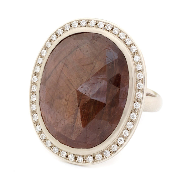 One of a Kind Oval Chocolate Brown Sapphire Ring - Anne Sportun Fine Jewellery
