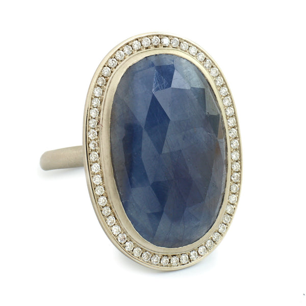 One of a Kind Night Blue Oval Sapphire Ring - Anne Sportun Fine Jewellery