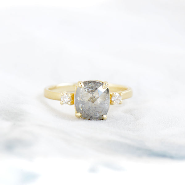One of a Kind Grey Cushion Diamond Ring - Anne Sportun Fine Jewellery Toronto, Canada, and U.S.