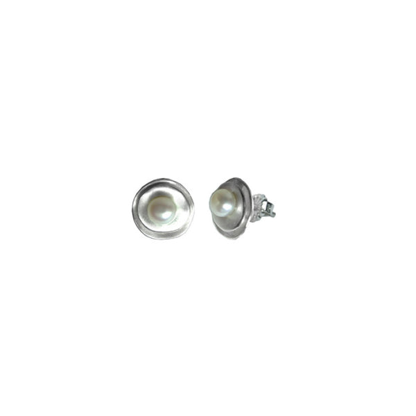 Nested Disc White Pearl Studs