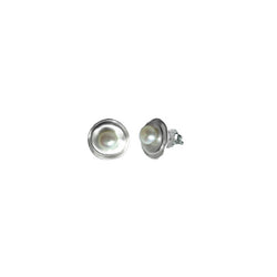 Nested Disc Grey Pearl Studs