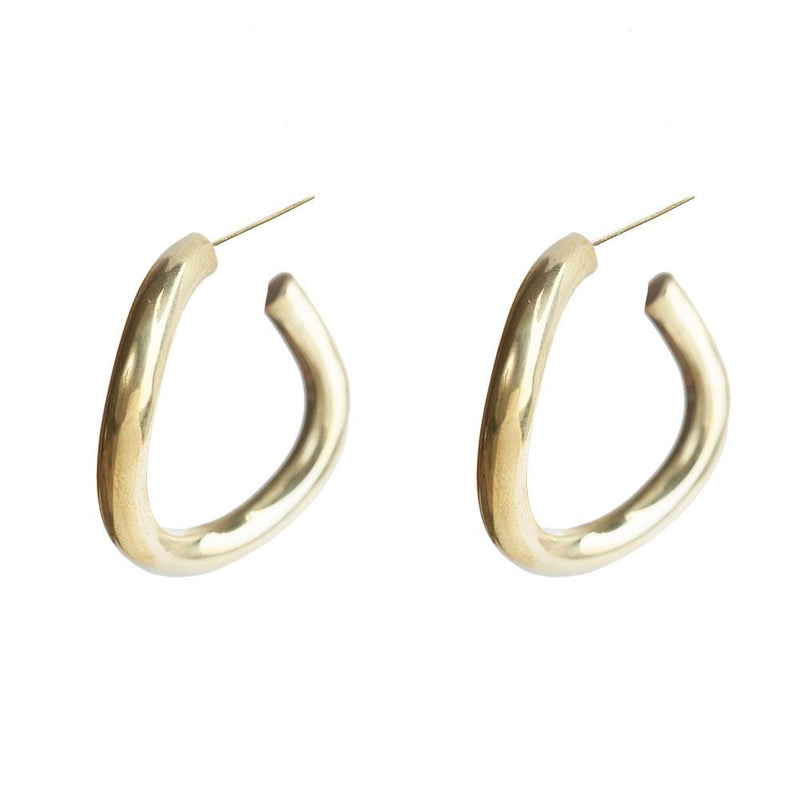 Contour Hoop Earrings - Gold Plated