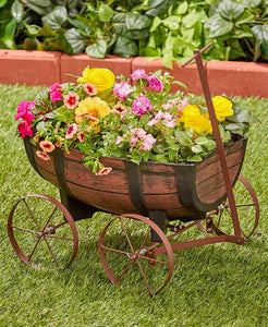 Barrel Wagon Planter