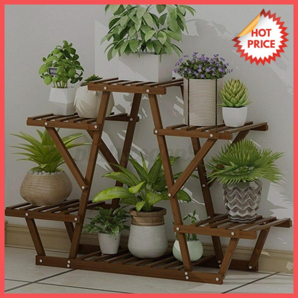NEW Wood Plant Stand Indoor Outdoor Carbonized Triangle 16 Tiered ...
