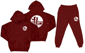 "TL Striped Logo ""Burgundy"" Sweatsuit Top and Bottom"