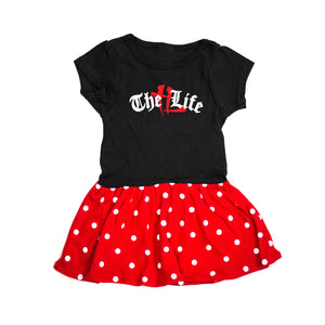 """TL Old English Logo"" Polka Dot Premium Onesie"
