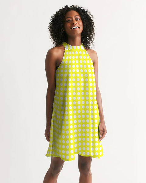 yellow polka dots Women's Halter Dress