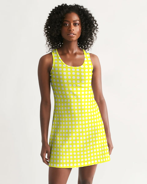yellow polka dots Women's Racerback Dress