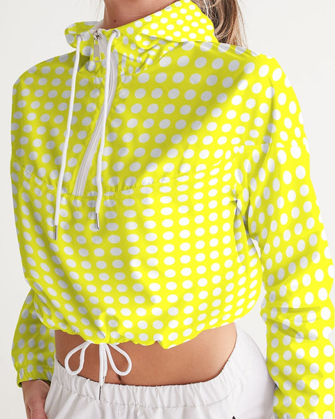 yellow polka dots Women's Cropped Windbreaker