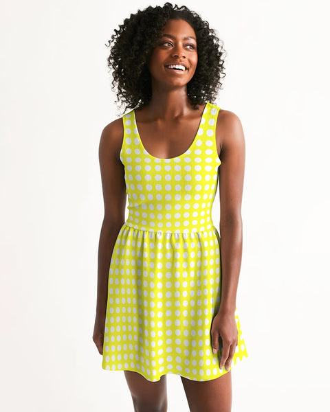 yellow polka dots Women's Scoop Neck Skater Dress