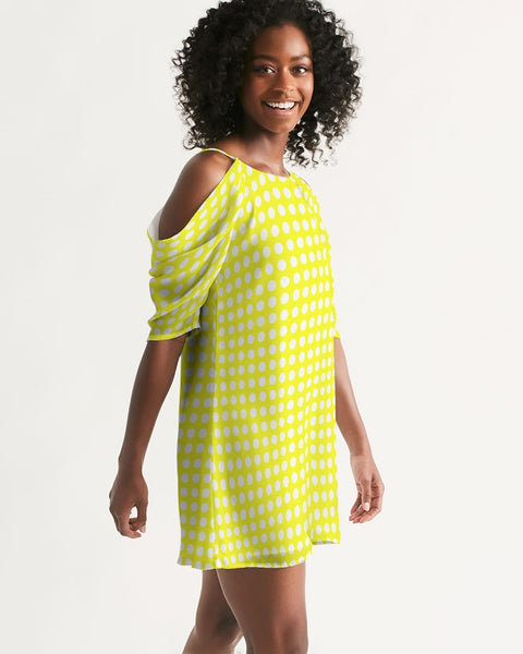 yellow polka dots Women's Open Shoulder A-Line Dress