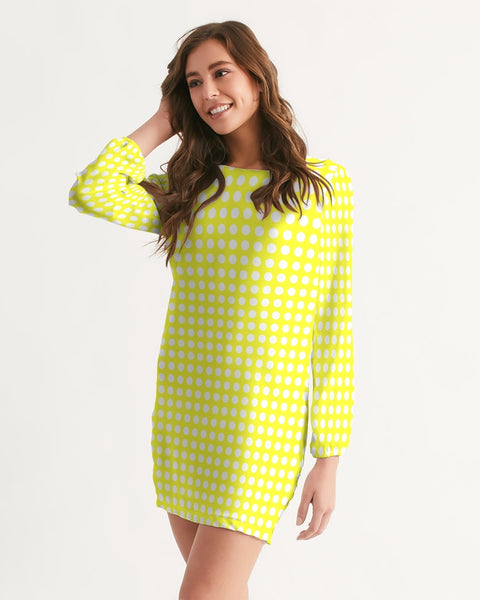 yellow polka dots Women's Long Sleeve Chiffon Dress