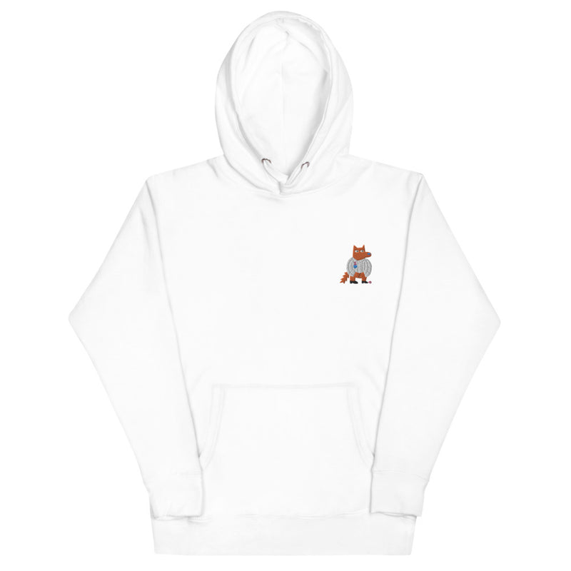 Embroidered Orange Wolf and Bunny Unisex Hoodie