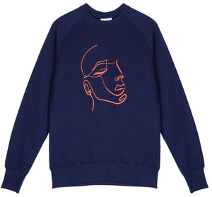 Unisex classic crew raglan sweatshirt, made from GOTS certified organic cotton with FaceIN print in Clementine colour printed with plastic free inks