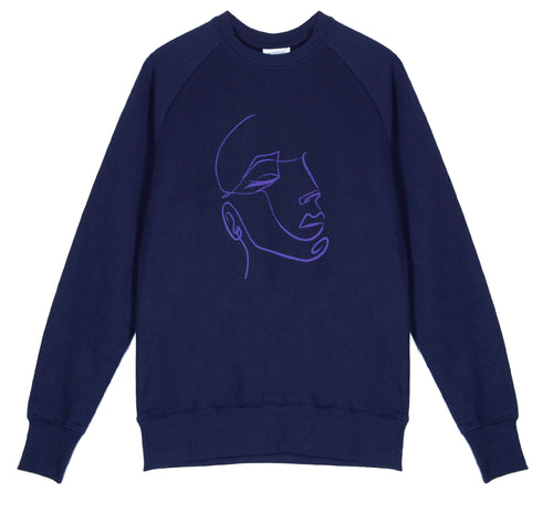 Unisex classic crew raglan sweatshirt, made from GOTS certified organic cotton with FaceIN print in Violet colour printed with plastic free inks