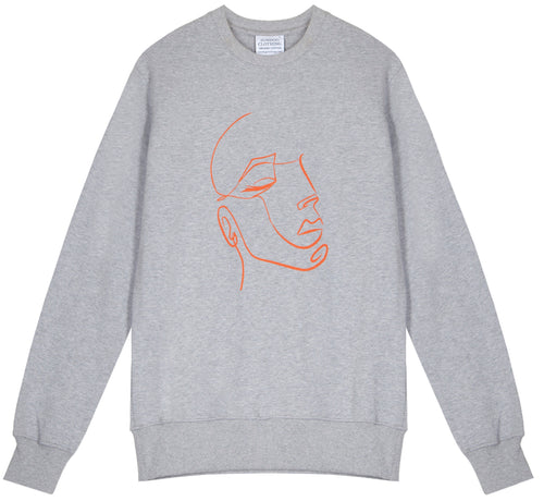 Unisex classic crew grey marl sweatshirt, made from GOTS certified organic cotton with FaceIN print in Clementine printed with plastic free inks