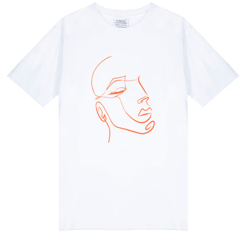 Unisex classic crew white T-shirt, made from GOTS certified organic cotton with FaceIN print in Clementine colour printed with plastic free inks